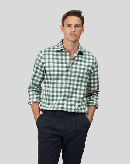 Soft Washed Non-Iron Stretch Oxford Check Shirt - Green And White