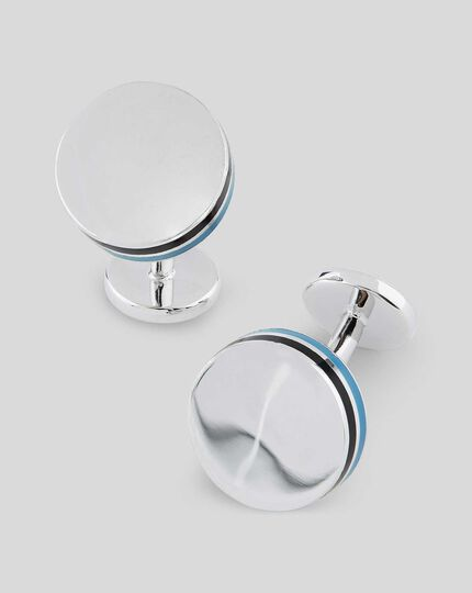 Round Enamel Side Stripe Cufflinks - Silver