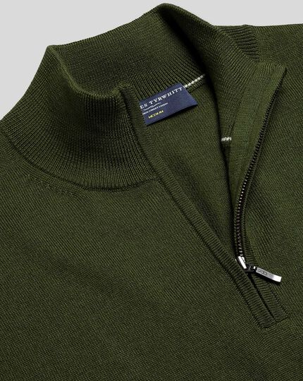 Merino Zip Neck Jumper - Olive