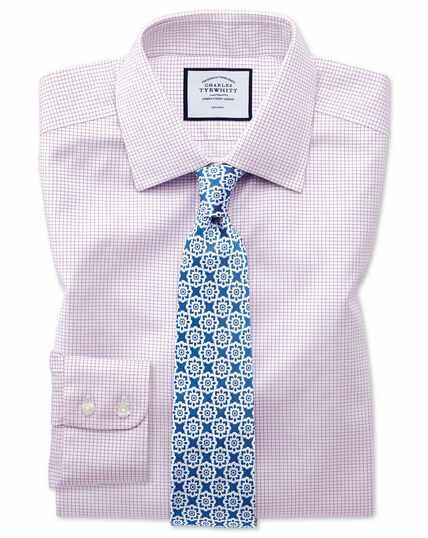 Chemise violette en twill extra slim fit à petits carreaux simples sans repassage