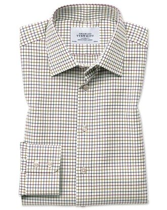 Classic fit country check purple and green shirt