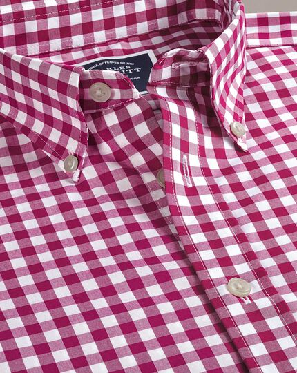 Slim fit button-down non-iron poplin red gingham shirt