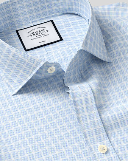 Bügelfreies Popeline-Hemd mit Haifischkragen und Karos - Himmelblau