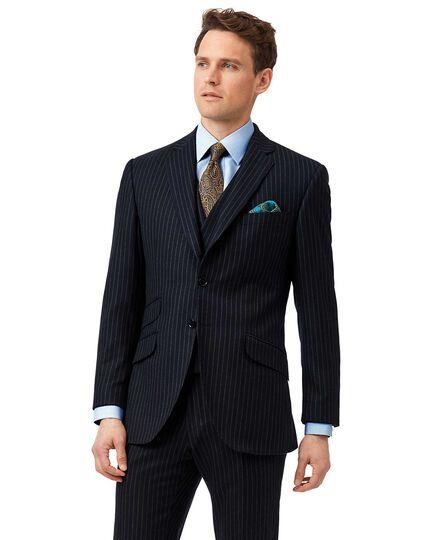 Navy stripe slim fit British luxury suit jacket