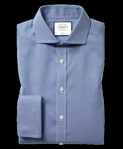 Chemise bleu roi en pied-de-poule sans repassage slim fit avec col cutaway