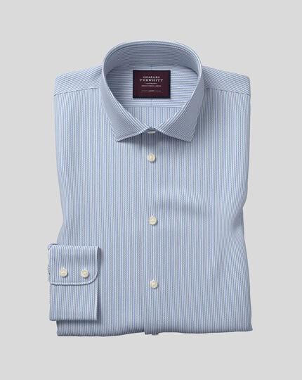 Semi-cutaway Collar Italian Dobby Stripe Shirt- Teal