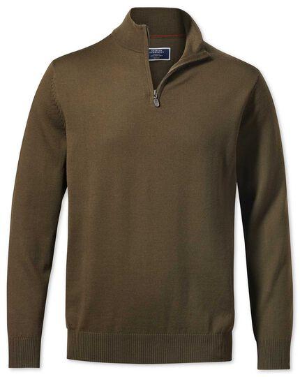 Olive zip neck merino sweater