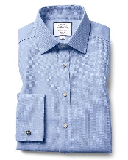 Chemise en tissage Buckingham bleue coupe droite sans repassage