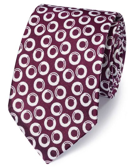 Berry and white silk end-on-end geometric classic tie