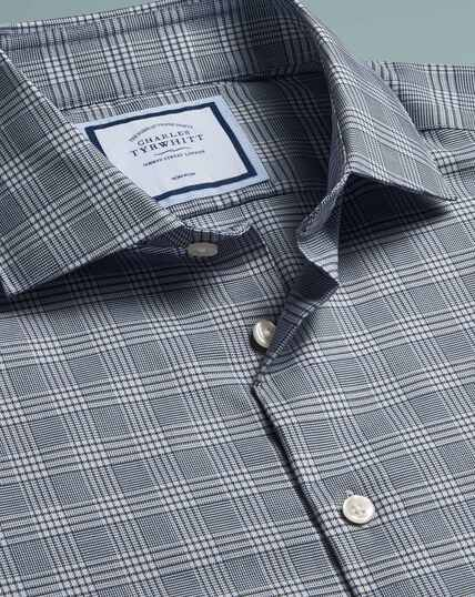 Non-Iron Natural Stretch Prince Of Wales Check Shirt - Grey
