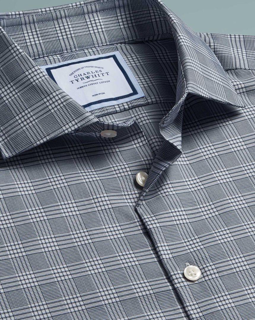 Non-Iron Natural Stretch Prince Of Wales Check Shirt - Grey