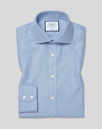 Cutaway Collar Non-Iron Buckingham Weave Shirt - Blue