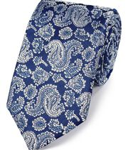 Englische Luxuskrawatte aus Seide mit Paisleymuster in Marineblau und Silber