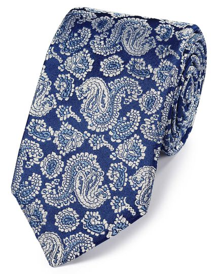 Navy and silver silk woven paisley English luxury tie