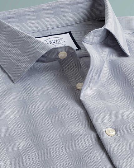 Chemise business casual grise à carreaux slim fit sans repassage