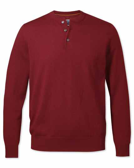 Dark red merino Henley neck jumper