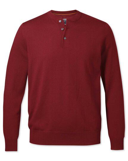 Dark red merino Henley neck jumper