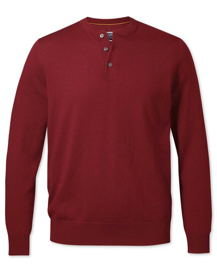Dark red merino Henley neck sweater