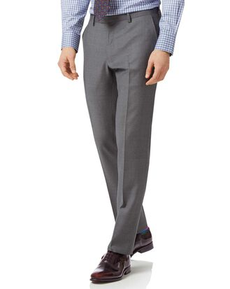 Grey slim fit twill business suit pants