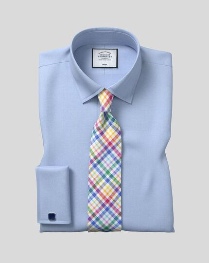 Classic Collar Non-Iron Herringbone Shirt  - Sky