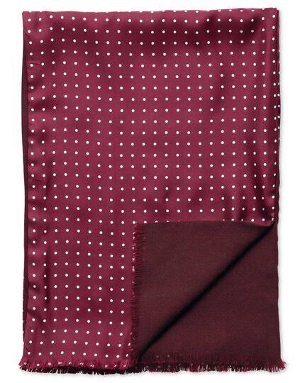 Écharpe bordeaux en soie à pois