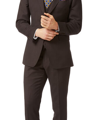 Brown slim fit birdseye travel suit
