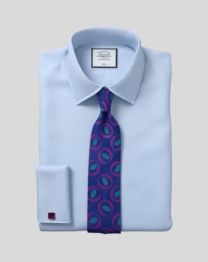 Bügelfreies Twill Hemd mit Kent Kragen  - Himmelblau