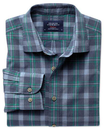 Extra slim fit blue and green check heather shirt