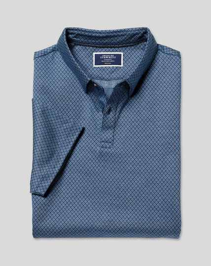 Diamond Jacquard Cotton Polo - Navy