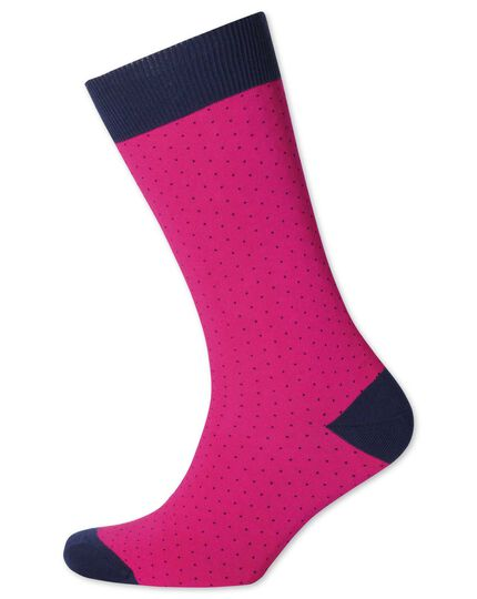 Pink and navy micro dash socks