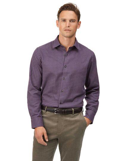 Slim Fit Hemd aus Baumwolle/TENCEL™ mit Karos in Violett