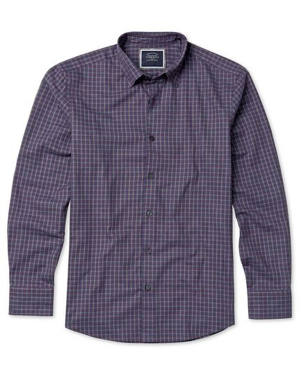 Slim fit purple check cotton with TENCEL™