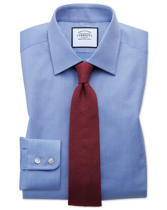 Extra slim fit Egyptian cotton trellis weave mid blue shirt