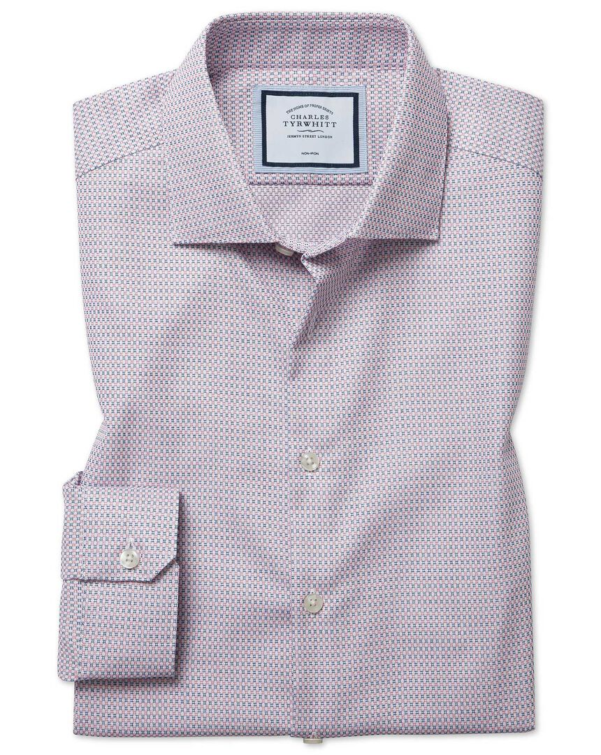Super slim fit non-iron natural stretch textures pink and navy shirt