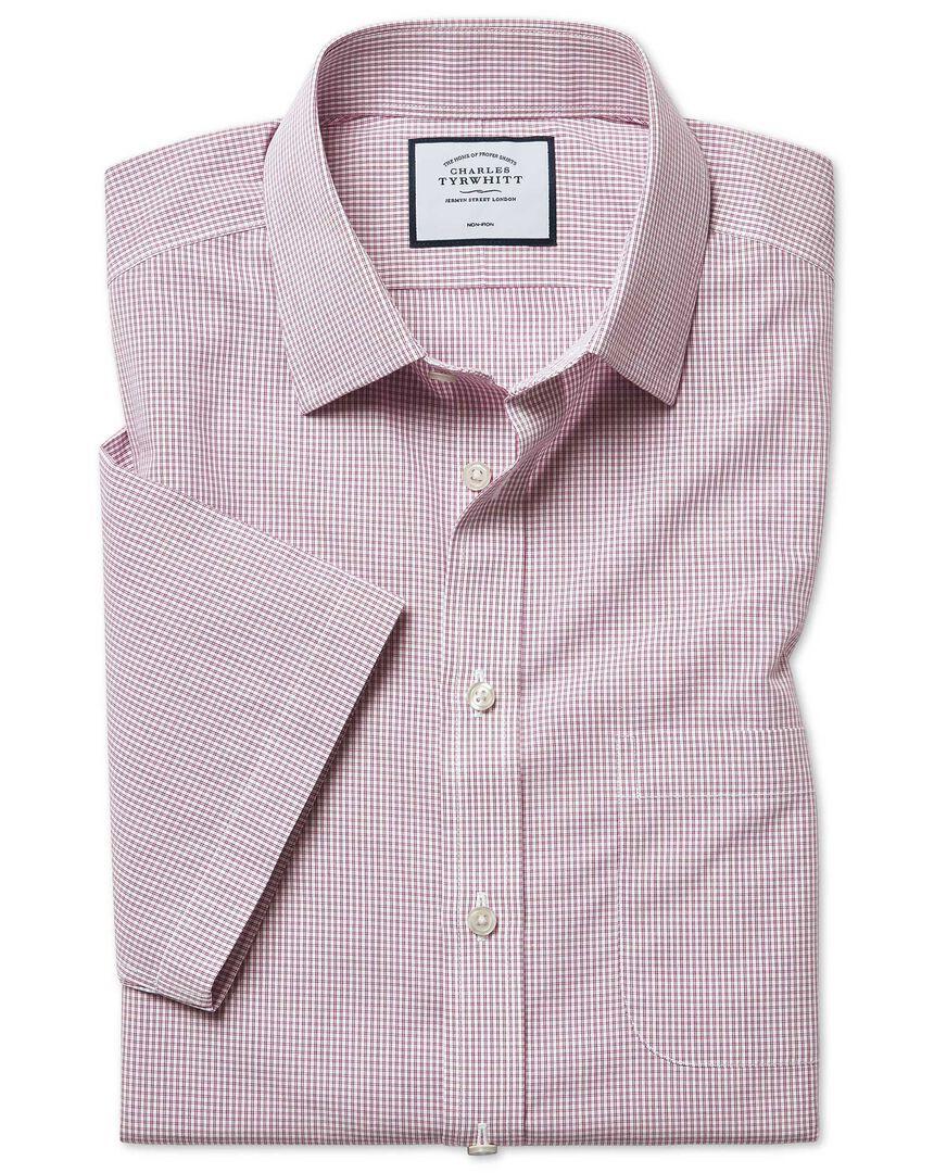 Slim fit non-iron Tyrwhitt Cool poplin check short sleeve berry shirt