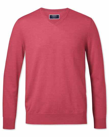 Coral merino v-neck sweater