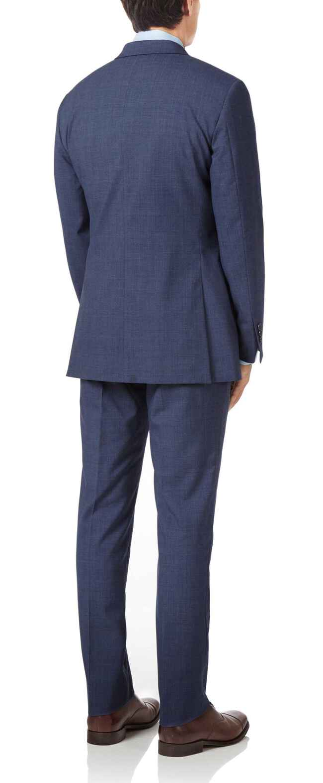 Airforce blue slim fit Panama check business suit