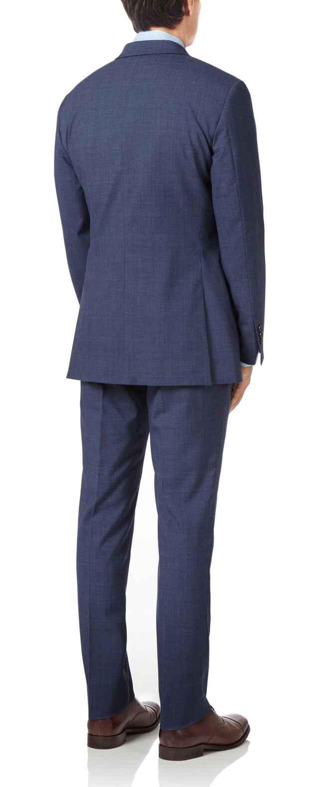Slim Fit Businessanzug aus Panama-Gewebe mit Karos in Airforceblau