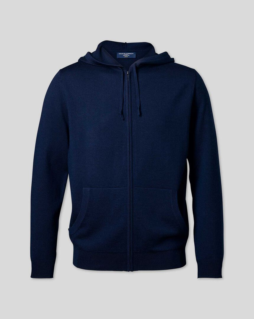 Merino Hooded Zip Through Sweater - Navy