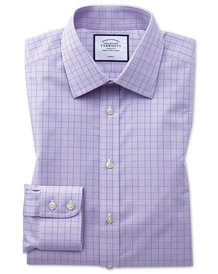 Extra slim fit non-iron lilac and blue Prince of Wales check shirt