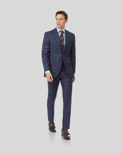 Luxury Check Suit - Airforce Blue