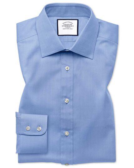 Chemise bleu ciel coupe droite à chevrons fins