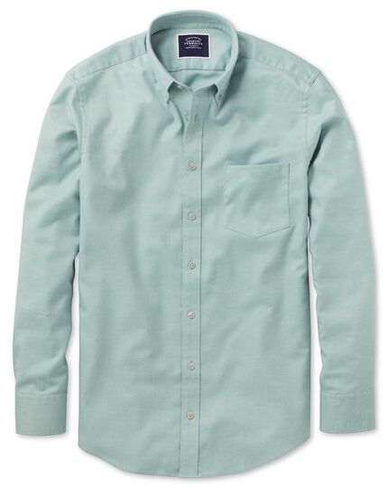 Slim fit light green plain soft washed non-iron twill shirt