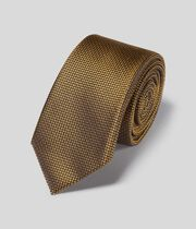 Stain Resistant Silk Slim Tie - Gold