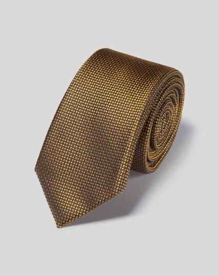 Stain Resistant Slim Silk Tie - Gold