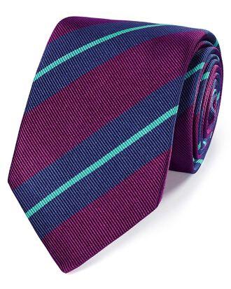 Cravate de luxe myrtille et bleue en soie anglaise à rayures en reps
