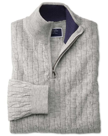 Light grey zip neck lambswool cable knit sweater