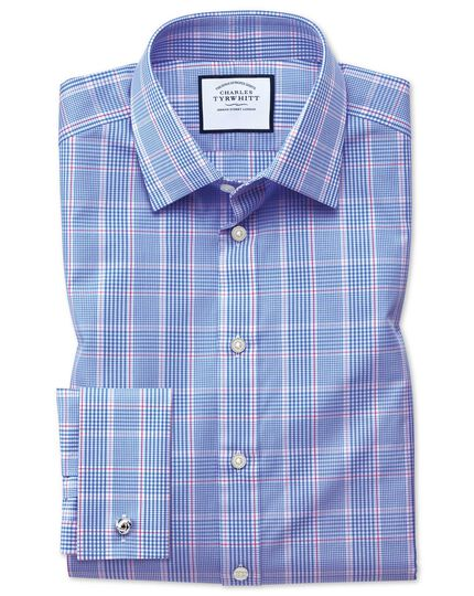 Slim fit Prince of Wales check blue shirt