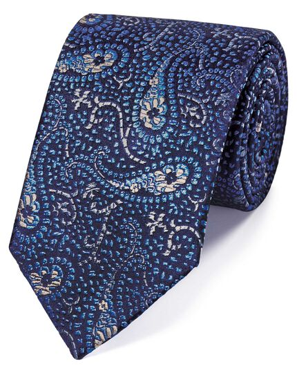Sky blue silk abstarct paisley English luxury tie