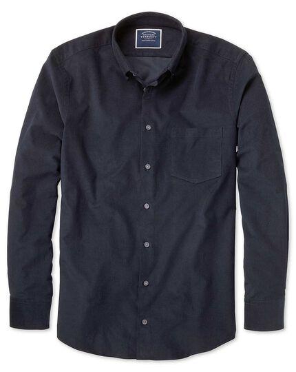 Chemise bleu marine unie en velours finement côtelé coupe droite